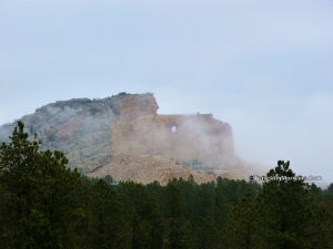 Crazy Horse Memorial in fog, about 1 mile away.