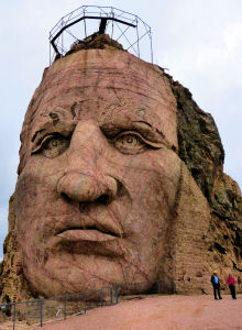 The face of Crazy Horse over 87 feet high.
