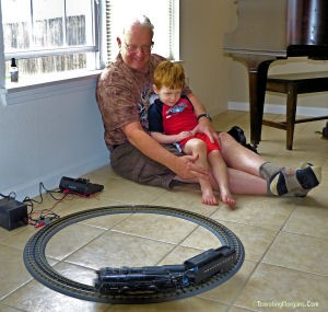 Larry, Aiden and 1949 Lionel Engine